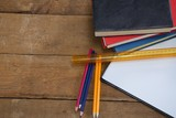 School supplies on wooden table - 175856783