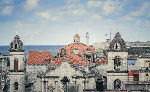 Aluminium Havana Old Havana buildings with famous landmarks, Cuba