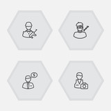 Set Of 4 Position Outline Icons Set.Collection Of Photographer, Designer, Banker And Other Elements. - 175859963
