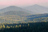 Hazy Hazy Cascade Mountain range from forest fire smoke at Crater Lake National Park, Oregon - 175862386