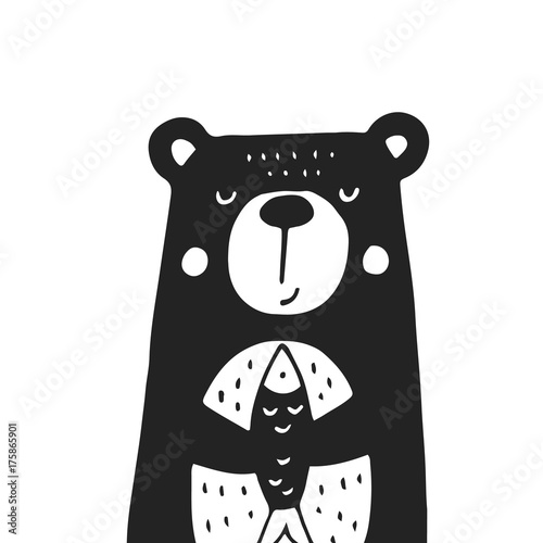 Cute hand drawn nursery poster with bear in scandinavian style. Monochrome vector illustration - 175865901
