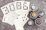 five spray cans with stencil numbers - 175868140