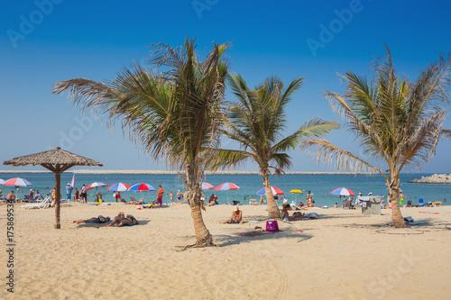 In de dag Dubai Beautiful Beach with palm tree