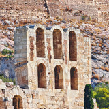 Acropolis of Athens Greece, arches of Herodeion ancient theater - 175869976