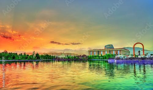 Artificial lake at Flagpole Park in Dushanbe, Tajikistan