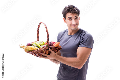 Fotobehang Fitness Man promoting the benefits of healthy eating and doing sports
