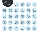 Collection of premium quality social media and networking line icons. Outline concepts for web and app design and development. Modern vector illustration of thin line web symbols. - 175871713