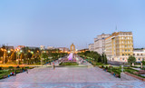 View of Dousti Square in Dushanbe, the Capital of Tajikistan