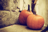 Halloween autumn holiday decoration at the stone stairs. Red pumpkins against grunge wall, seasonal background - 175872575