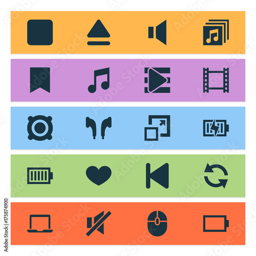 Music Icons Set. Collection Of Start, Song List, Music And Other Elements. Also Includes Symbols Such As Rewind, Recording, Headphone.