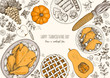 Thanksgiving day top view vector illustration. Food hand drawn sketch. Festive dinner with turkey and potato, apple pie, vegetables, fruits and berries. Autumn food sketch. Engraved image.