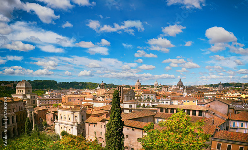 Foto op Aluminium Rome Aerial view to the side of Capitol Hill with roofs and churches of the ancient city