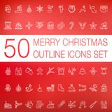 Weihnachten Kontur Linien Icons Set - 175881353