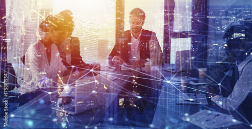 Fototapeta Businessperson in office with network effect. concept of partnership and teamwork