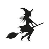 Witch on broom. Vector. Isolated. - 175885359