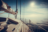 Yachting on sail boat during sunny weather - 175885538