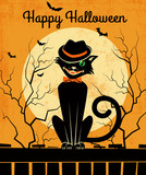 Vintage style Halloween card with stylish back cat and full moon. Vector illustration. - 175887133