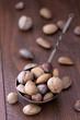Quadro Almonds, walnuts and hazelnuts in metallic bowl