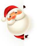 Santa Claus with blank signboard. - 175892178