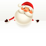 Santa Claus with blank signboard. - 175892179
