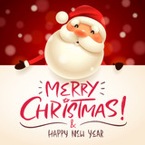 Santa Claus with big signboard. Merry Christmas calligraphy lettering design. Creative typography for holiday greeting. - 175892303