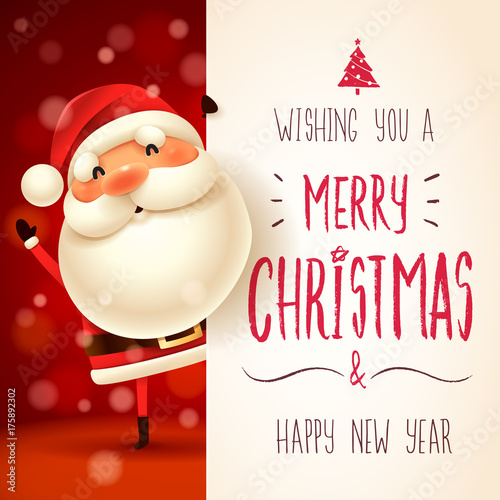 Santa Claus with big signboard. Merry Christmas calligraphy lettering design. Creative typography for holiday greeting. - 175892302