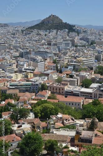 Staande foto Athene Ville d'Athènes et de la colline du Lykavittos vue depuis l'Acropole d'Athènes