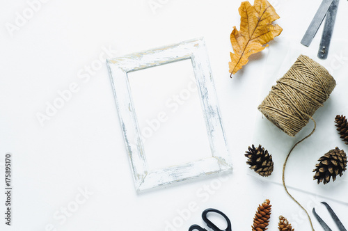 White frame on white background. Template for text or design