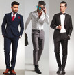3 different elegant young men