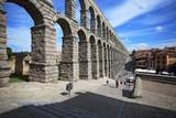 Segovia, Spain. View at Plaza del Azoguejo and the ancient Roman aqueduct - 175897596