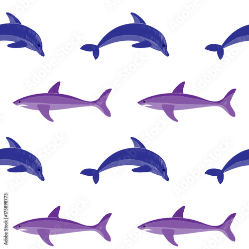 Fototapeta Dolphin and shark embroidery seamless pattern