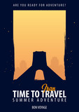 Iran. Time to Travel. Journey, trip, vacation. Moon background. Bon Voyage.