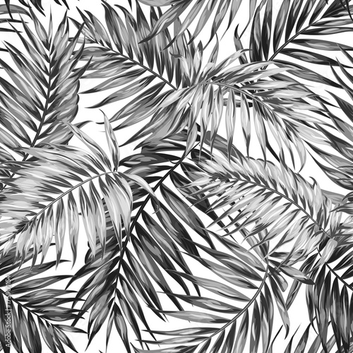 Seamless hand drawn tropic exotic botanical vector pattern texture with rainforest jungle tree palm leaves foliage. Black and white illustration. Twilight night time. - 175900154