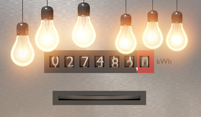 Electricity and power consumption concept. Many light bulbs and electrometer in background. 3D rendered illustration.