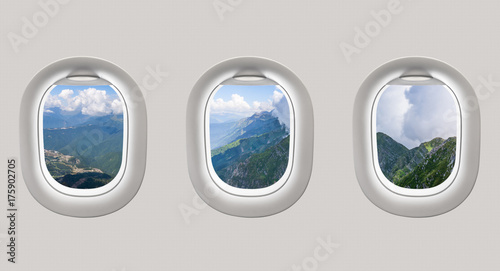 View of mountains in Russia from airplane windows - 175902705
