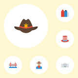 Flat Icons Usa Hat, Bridge, White House And Other Vector Elements. Set Of Usa Flat Icons Symbols Also Includes Government, Bridge, Hat Objects. - 175903568