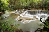 Beautiful waterfall in green forest in nature - 175905346