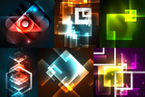Glowing geometric shapes on dark abstract backgrounds - 175907759