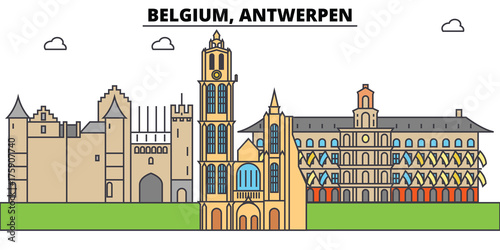 Foto op Aluminium Antwerpen Belgium, Antwerpen. City skyline, architecture, buildings, streets, silhouette, landscape, panorama, landmarks. Editable strokes. Flat design line vector illustration concept. Isolated icons