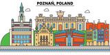 Poland, Poznan. City skyline, architecture, buildings, streets, silhouette, landscape, panorama, landmarks. Editable strokes. Flat design line vector illustration concept. Isolated icons