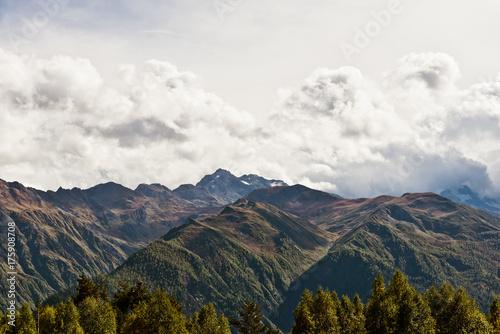 Poster Wit caucasus mountain landscape in Georgia