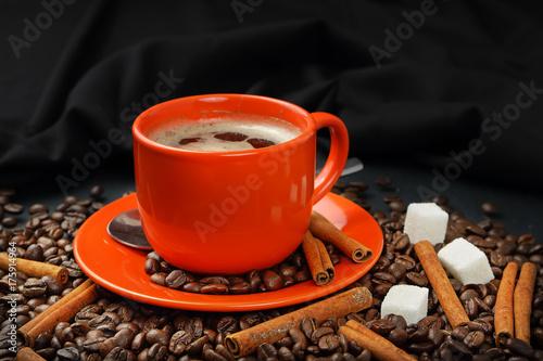 Papiers peints Café en grains Coffee still life with an orange mug