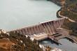 hydroelectric power plant on river autumn season