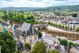 Terrasson. Vue sur la ville depuis les falaises du Malpat. Dordogne. Nouvelle Aquitaine
