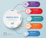 Infographic for business presentation with circular elements and options vector template - 175917981