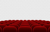 Empty movie theater auditorium with red seats. Cinema hall interior isolated vector illustration - 175918193