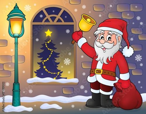 Deurstickers Voor kinderen Santa Claus on sidewalk theme 1