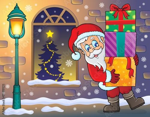Deurstickers Voor kinderen Santa Claus on sidewalk theme 2
