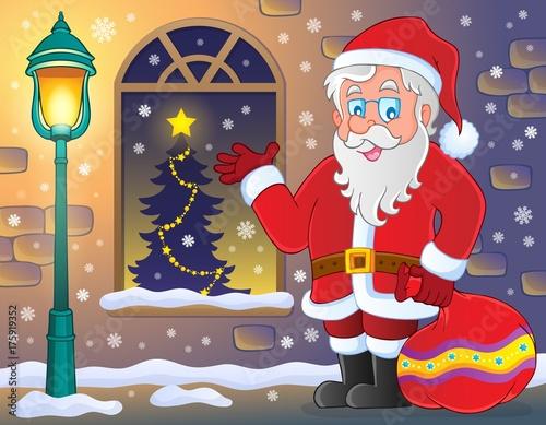 Deurstickers Voor kinderen Santa Claus on sidewalk theme 3