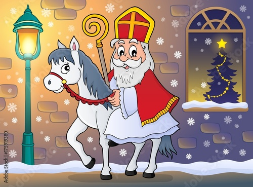Deurstickers Voor kinderen Sinterklaas on horse theme image 7